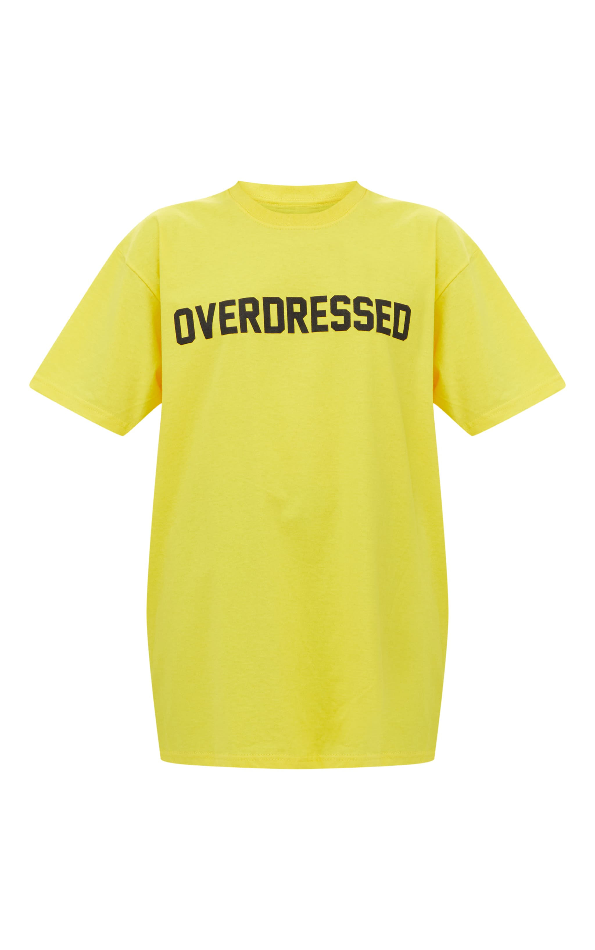 T-shirt surdimensionné jaune à slogan Overdressed 5