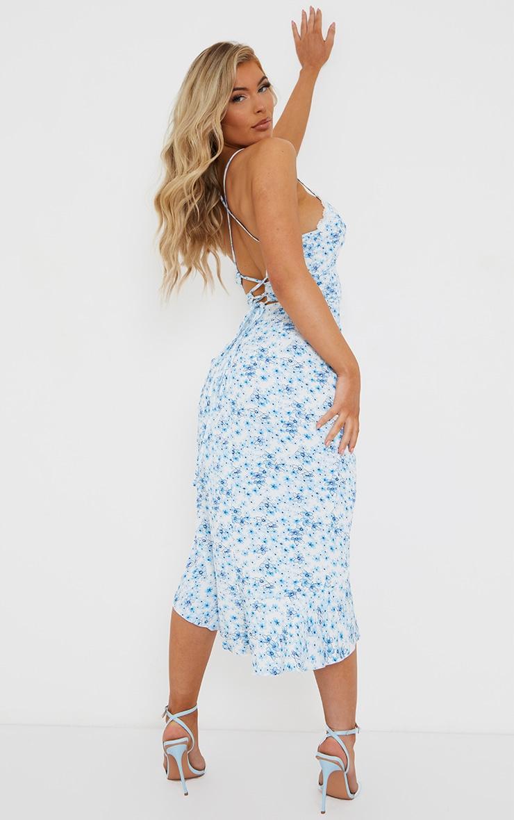Blue Floral Print Lace Up Back Twist Detail Midi Dress 1