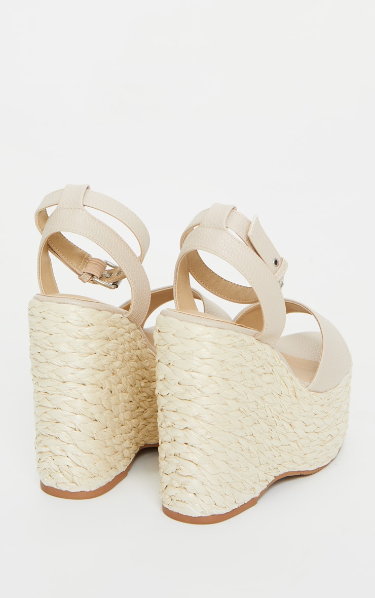 Nude Raffia Chunky Rope Ankle Strap Wedges 4