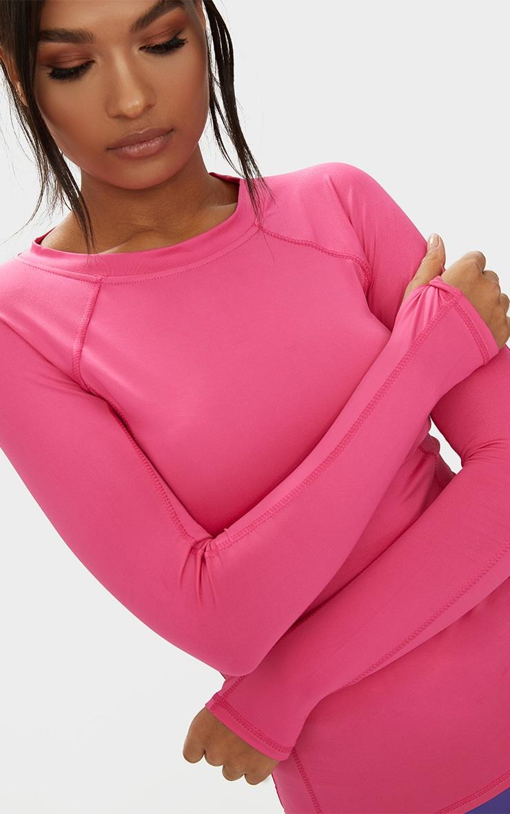 Pink Long Sleeve Gym Top  5
