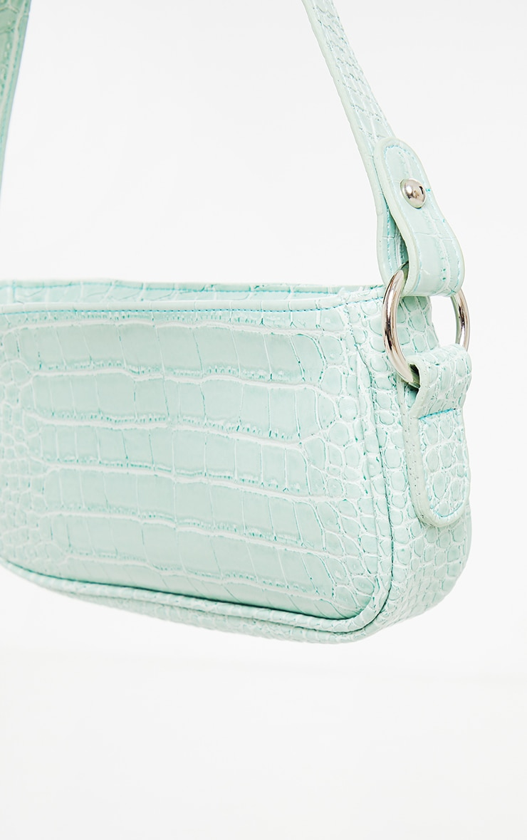 Sage Green PU Croc Shoulder Bag 2