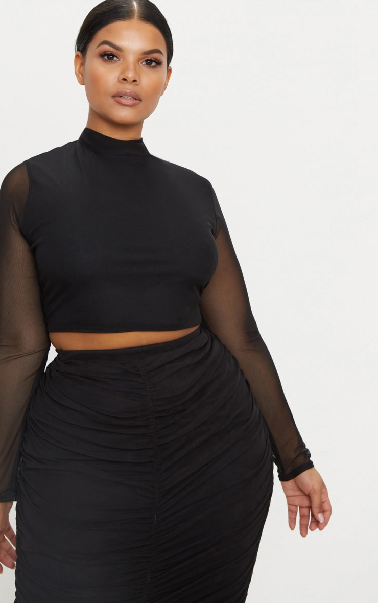 Plus Black Mesh Long Sleeve Crop Top 1