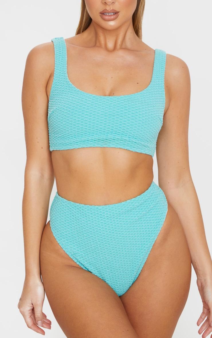 Dusky Turquoise Bubble Textured Scoop Neck Bikini Top 5