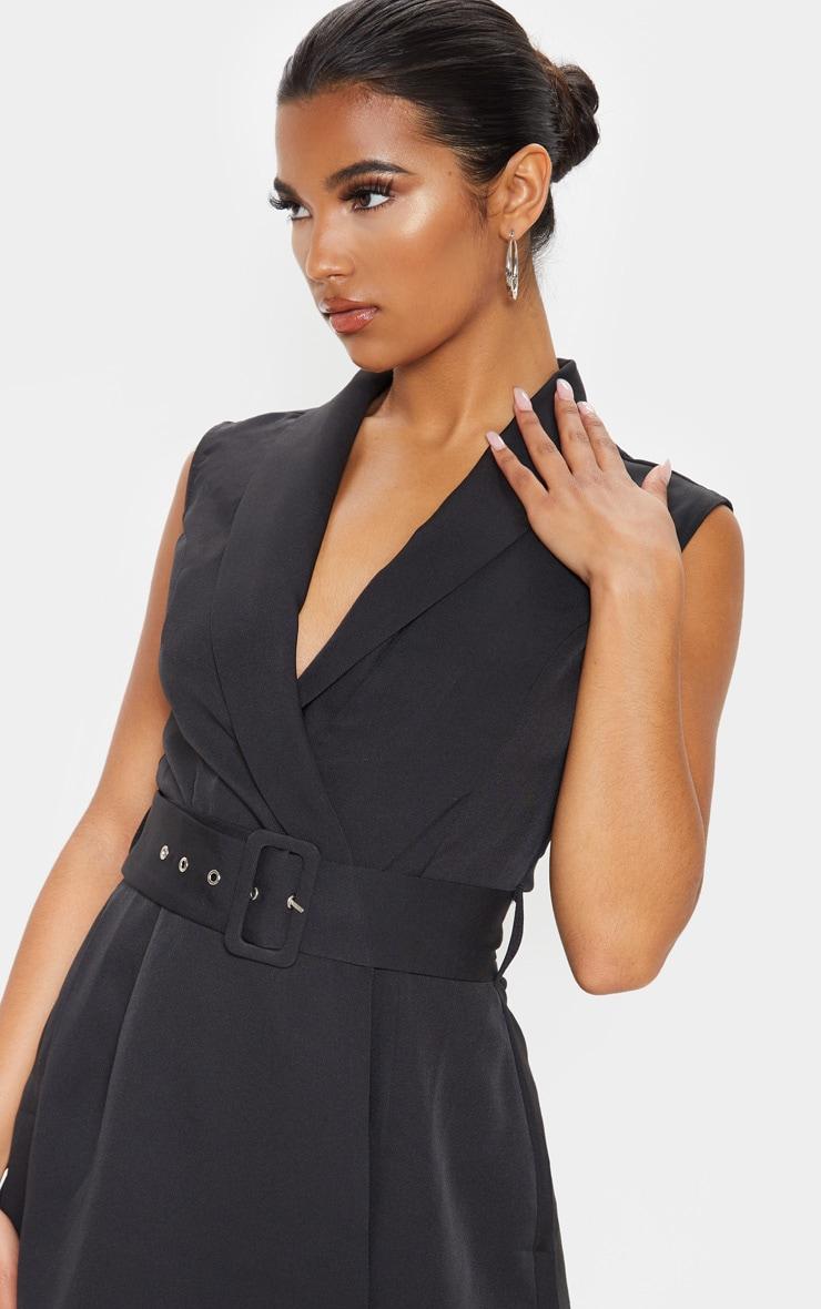 Black Tailored Belted Romper 5