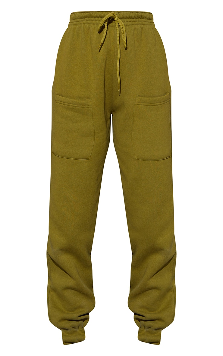 Olive Green Pocket Thigh Detail Casual Joggers 5