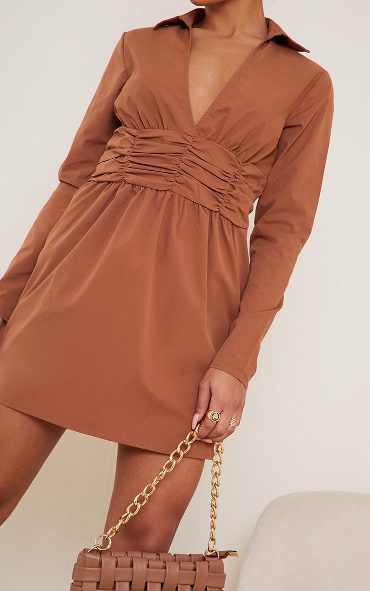 Camel Ruched Binding Waist Long Sleeve Shirt Dress 4