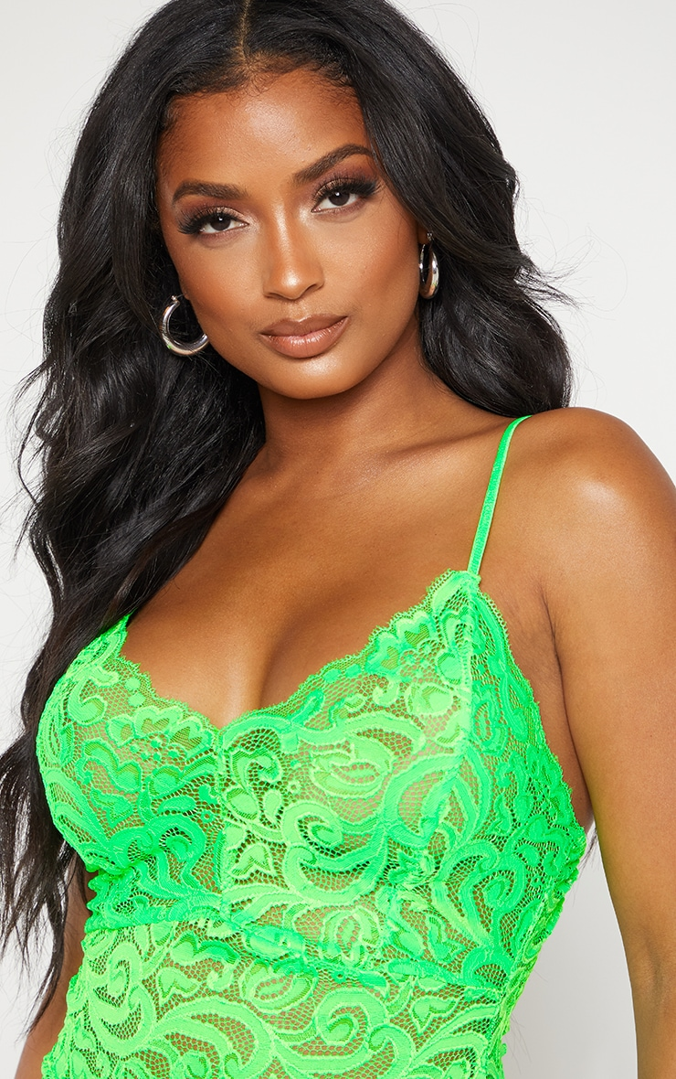Shape Neon Lime Lace Sheer Bodysuit 5