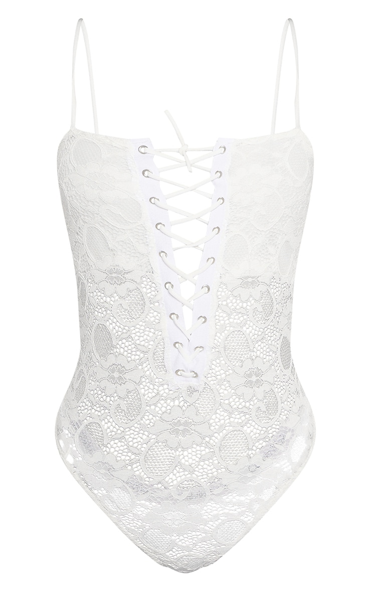 Shape White Eyelet Detail Lace Bodysuit 3