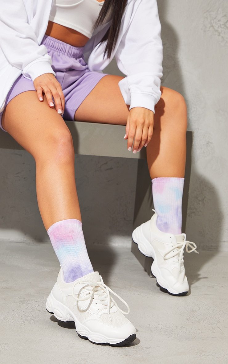 Socquettes imprimées tie & dye lilas 2