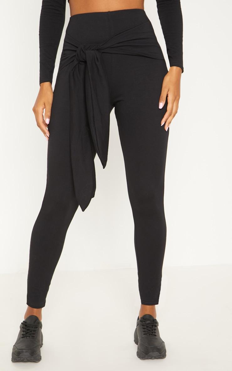 Black Cotton Tie Detail Leggings 2