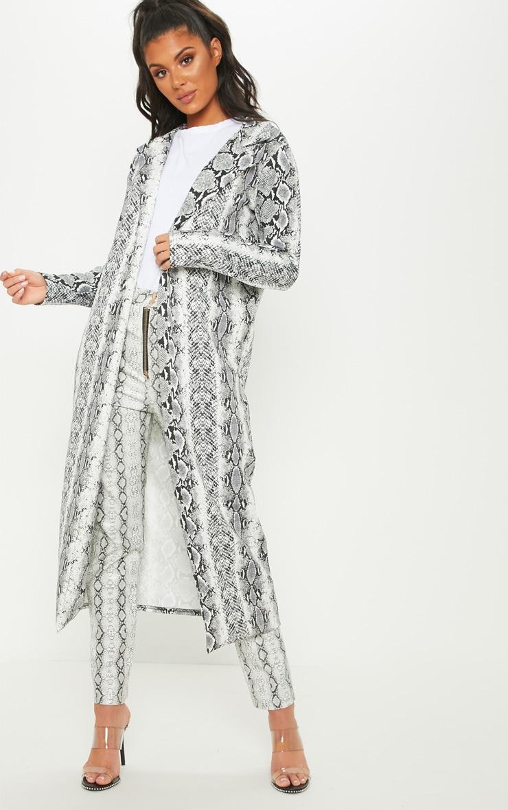 Grey Longline Snake Duster Jacket