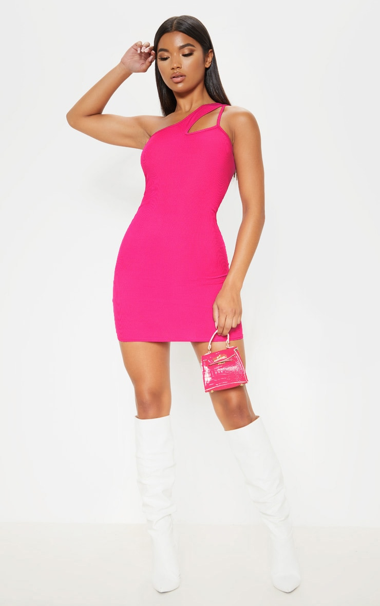 4d214bda48e Hot Pink Ribbed One Shoulder Cut Out Bodycon Dress   PrettyLittleThing
