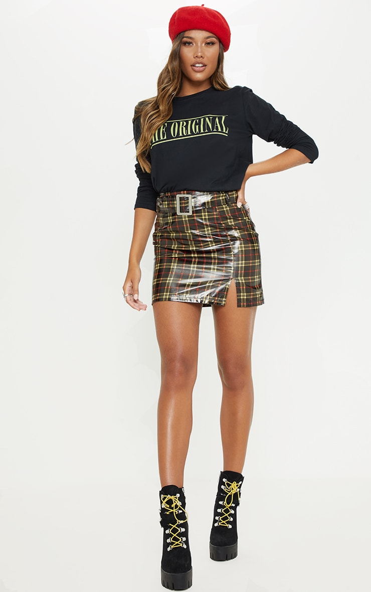 Black Check Belted Waist Patent Mini Skirt 5