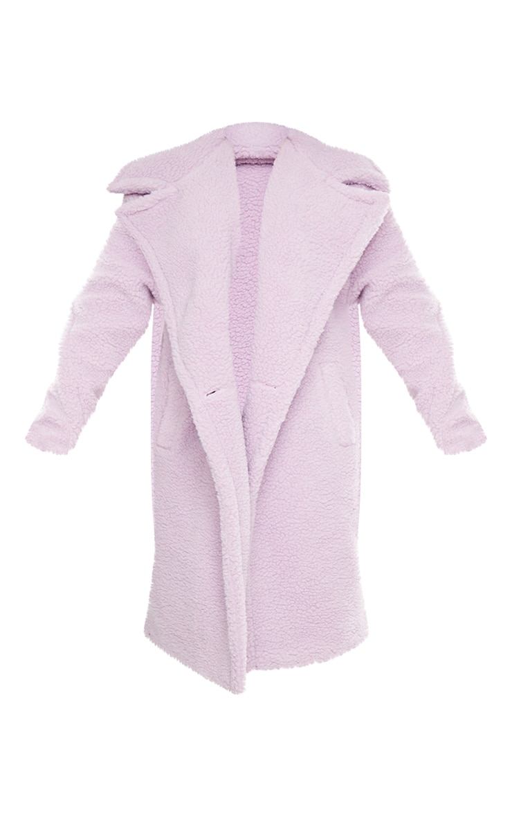 Petite Lilac Borg Oversized Coat 5