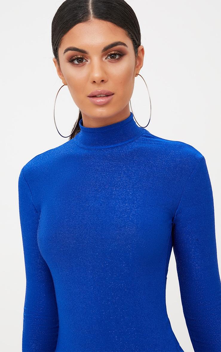 Cobalt Blue High Neck Glitter Side Split Maxi Dress 5