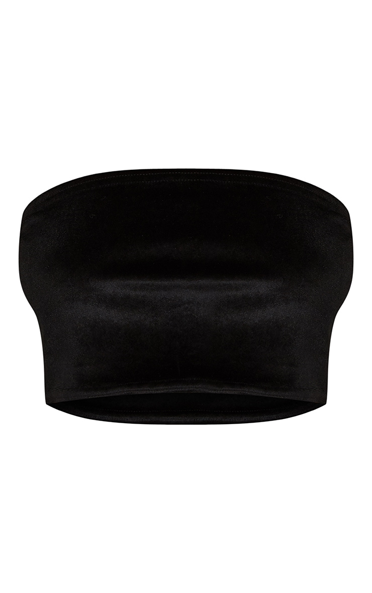Black Velvet Bandeau Crop Top 3