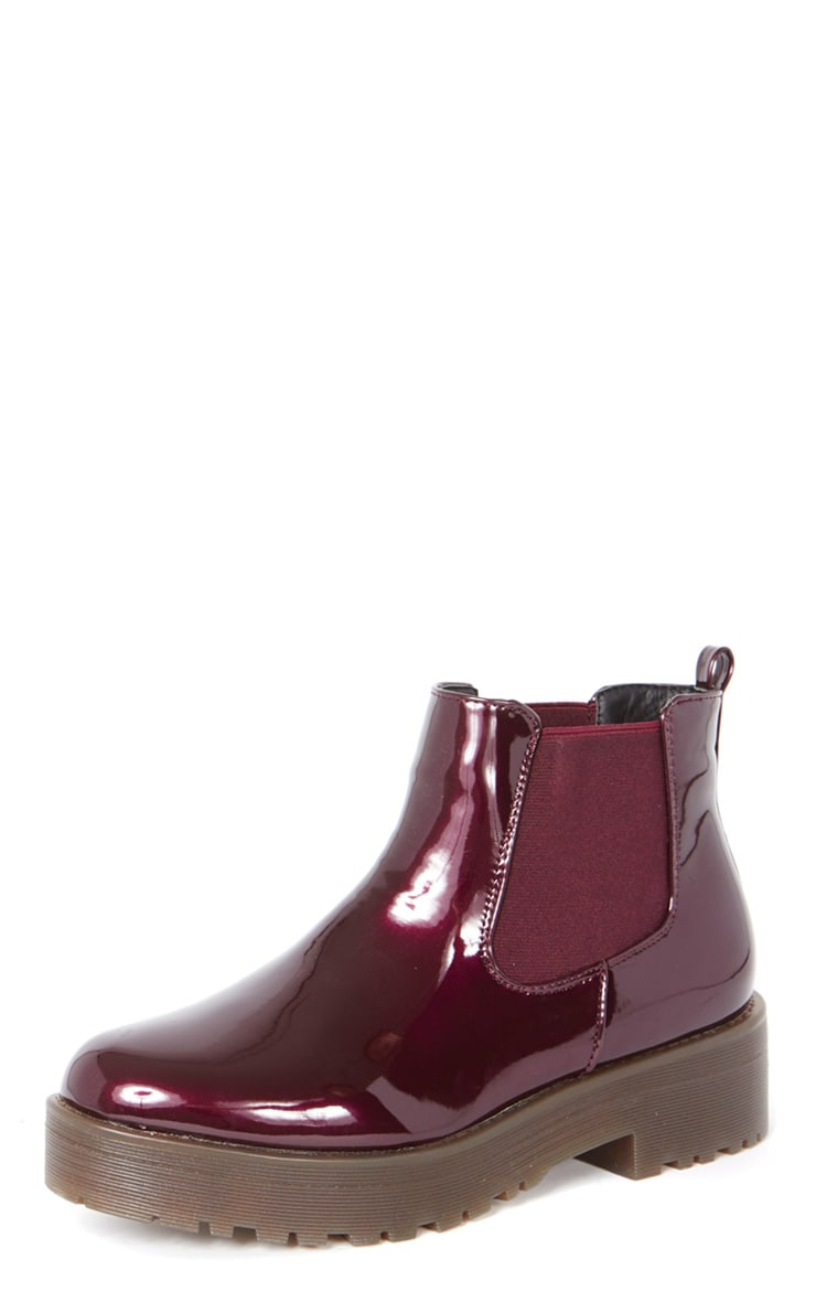 Sabine Plum Patent Cleated Sole Chelsea Boot  2