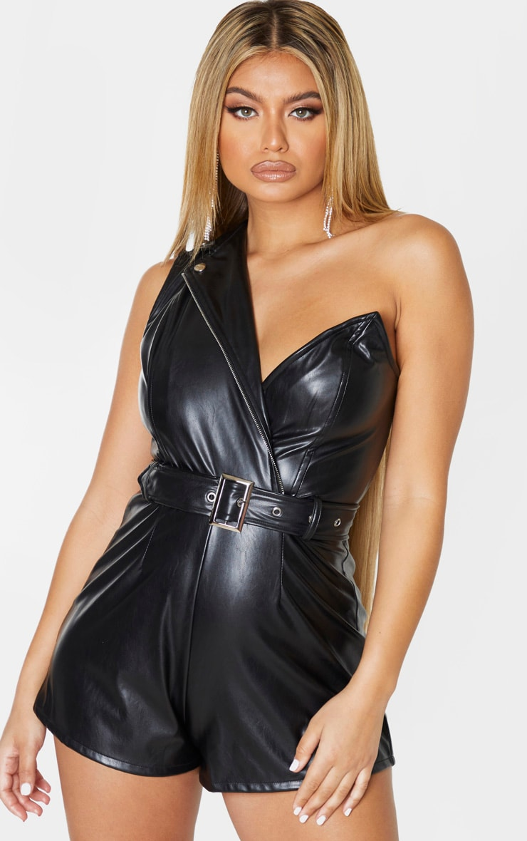Black Faux Leather Asymmetric Belted Playsuit 4