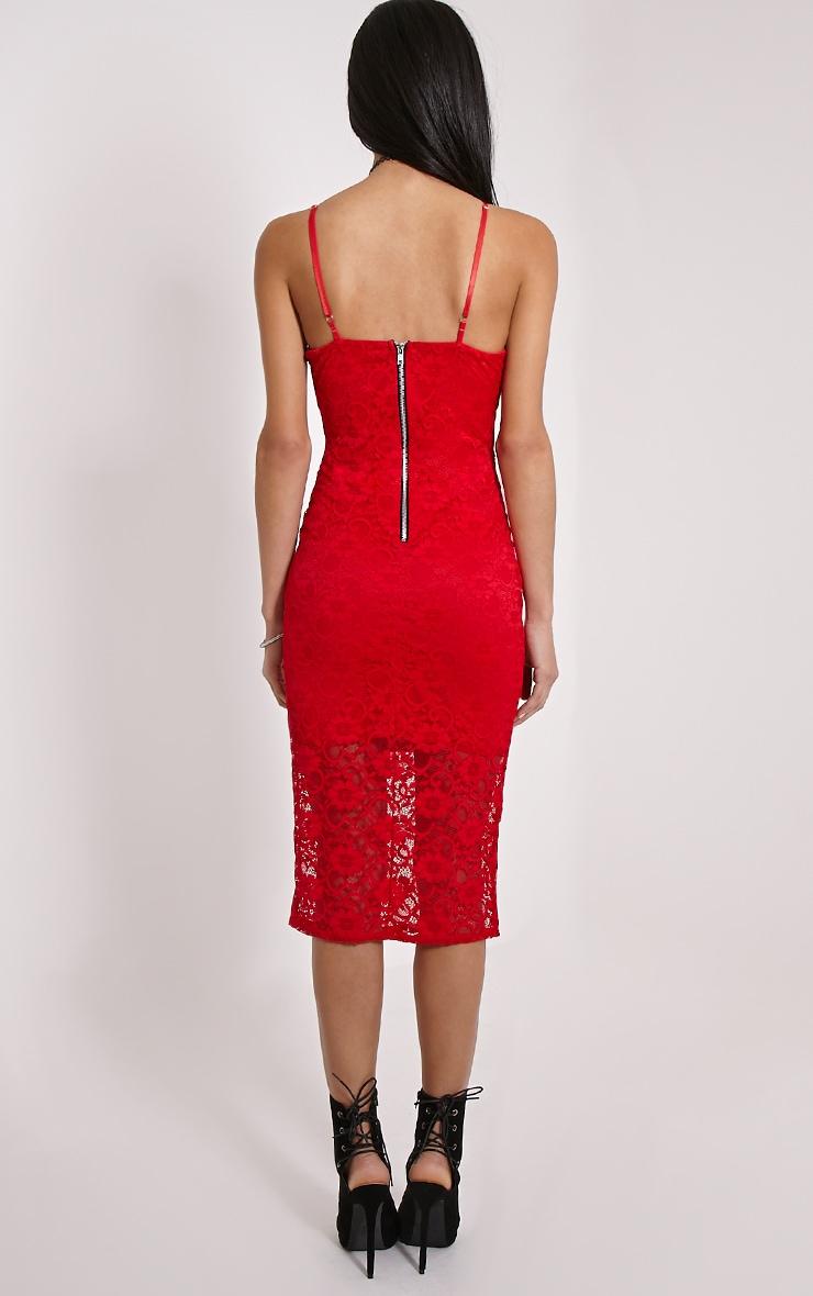 Adira Red Lace Midi Dress 2