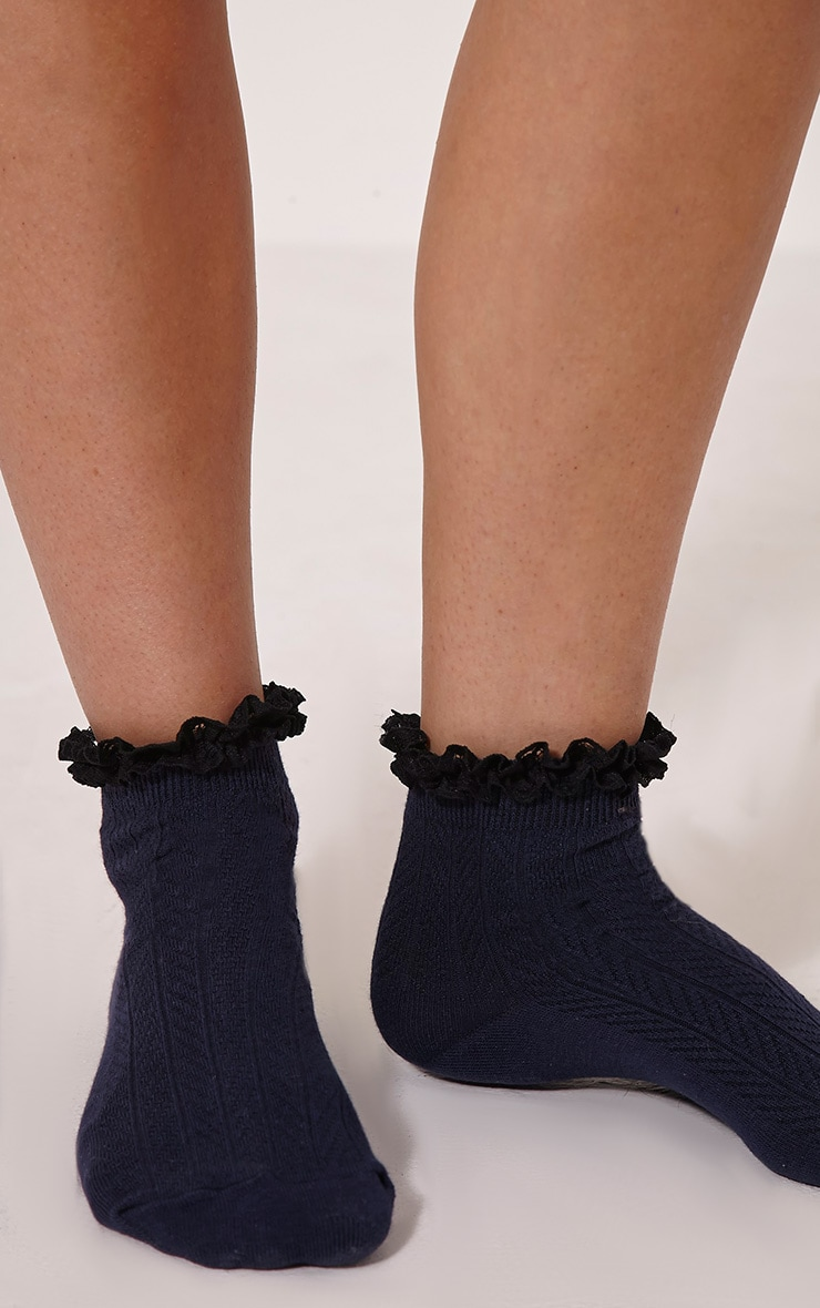 Natia Navy Frill Sock 3