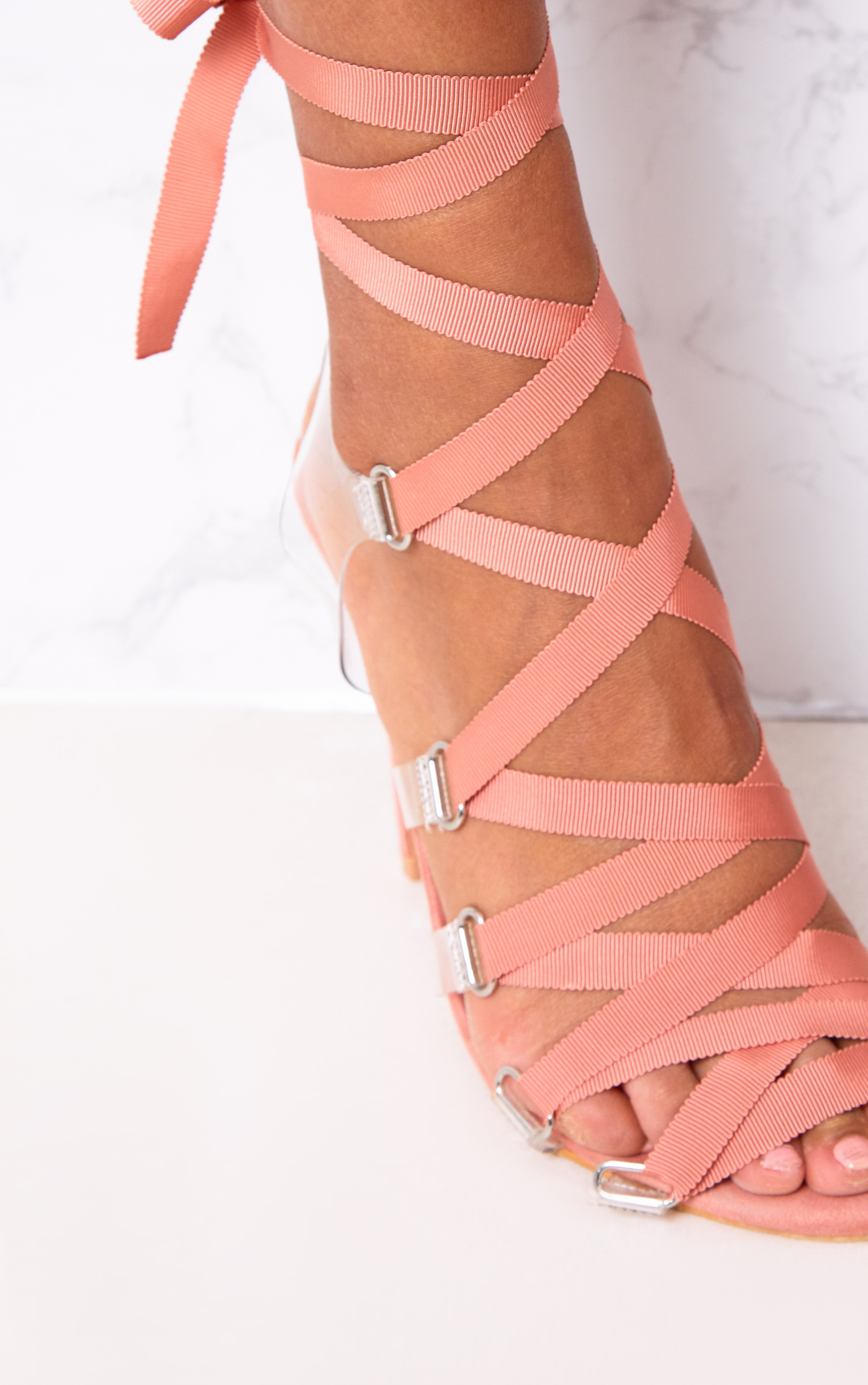 Blush Lace Up Heels 2