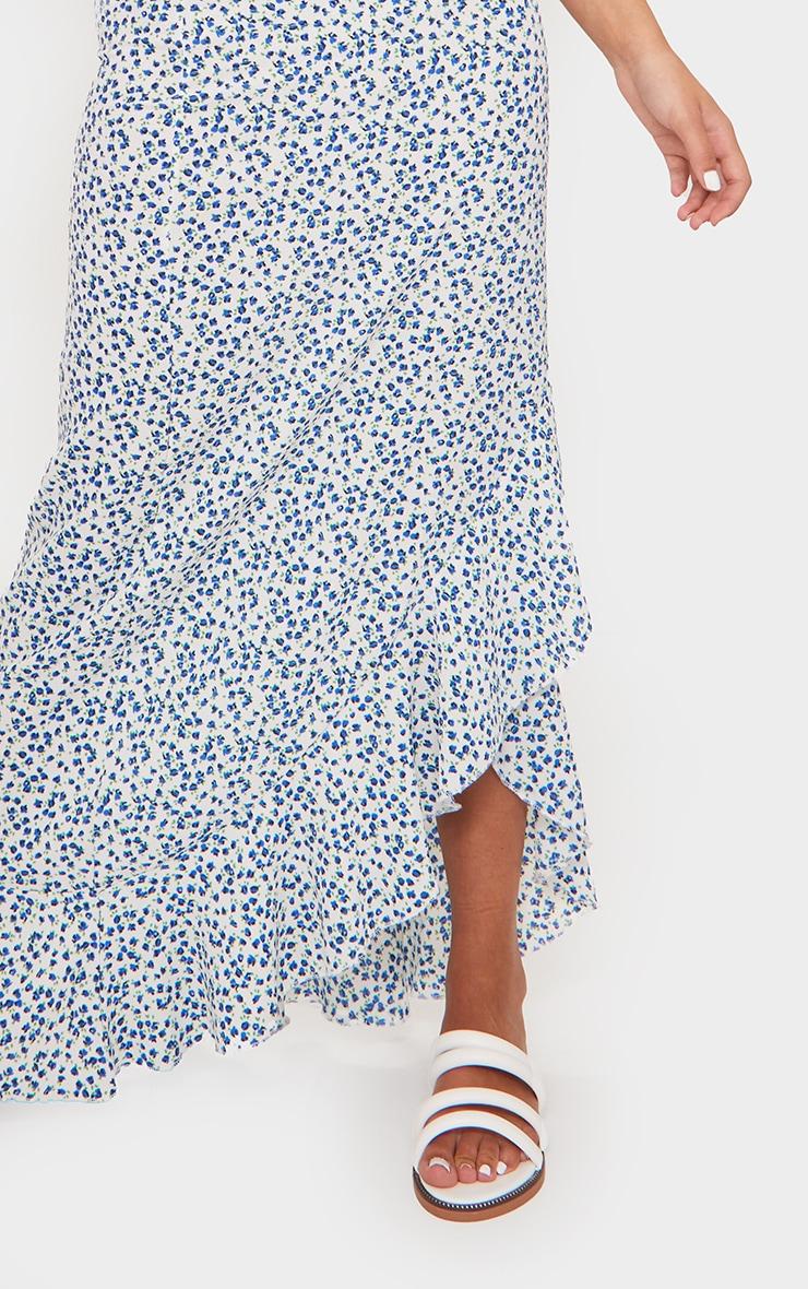 Blue Floral Woven Frill Hem Midi Skirt 4