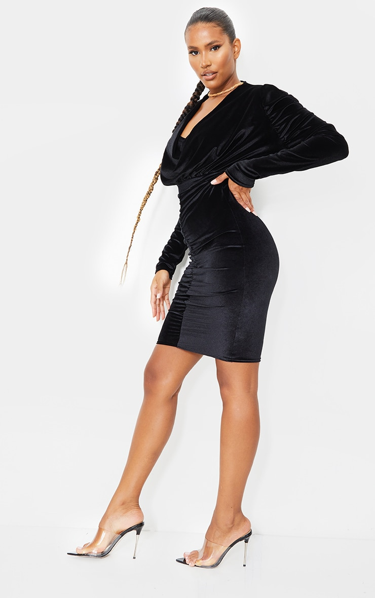 Black Velvet Cowl Ruched Long Sleeve Midi Dress 3