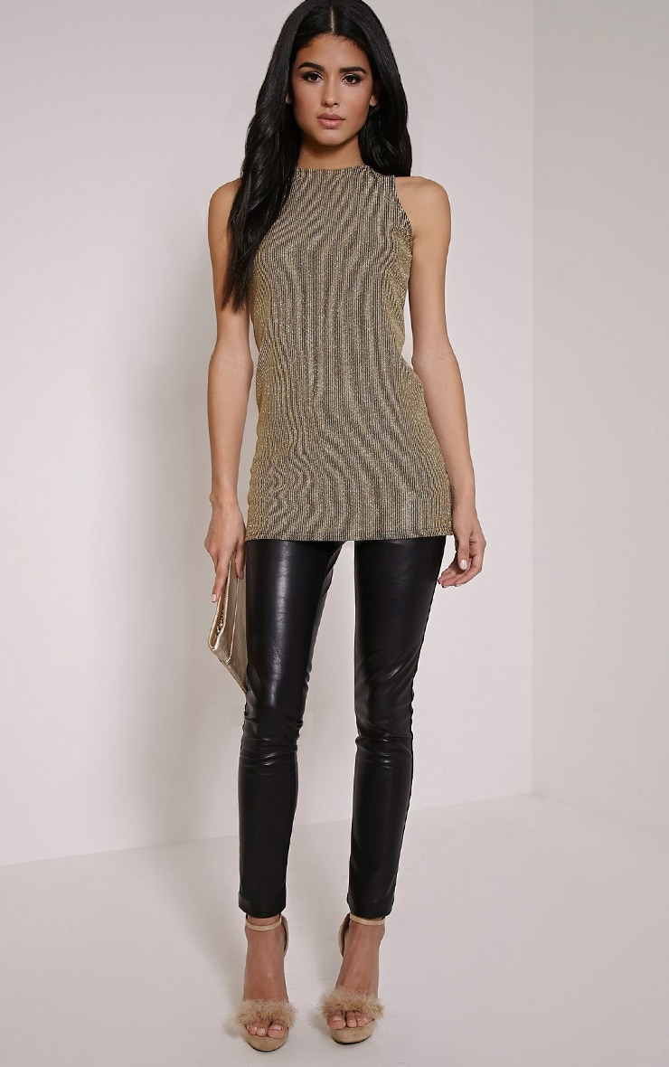 Zeena Gold Metallic Ribbed Shift Top 4