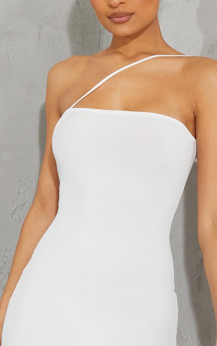 White Ribbed One Shoulder Spaghetti Strap Bodycon Dress 4