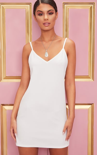 White Strappy Detail Backless Cami Dress