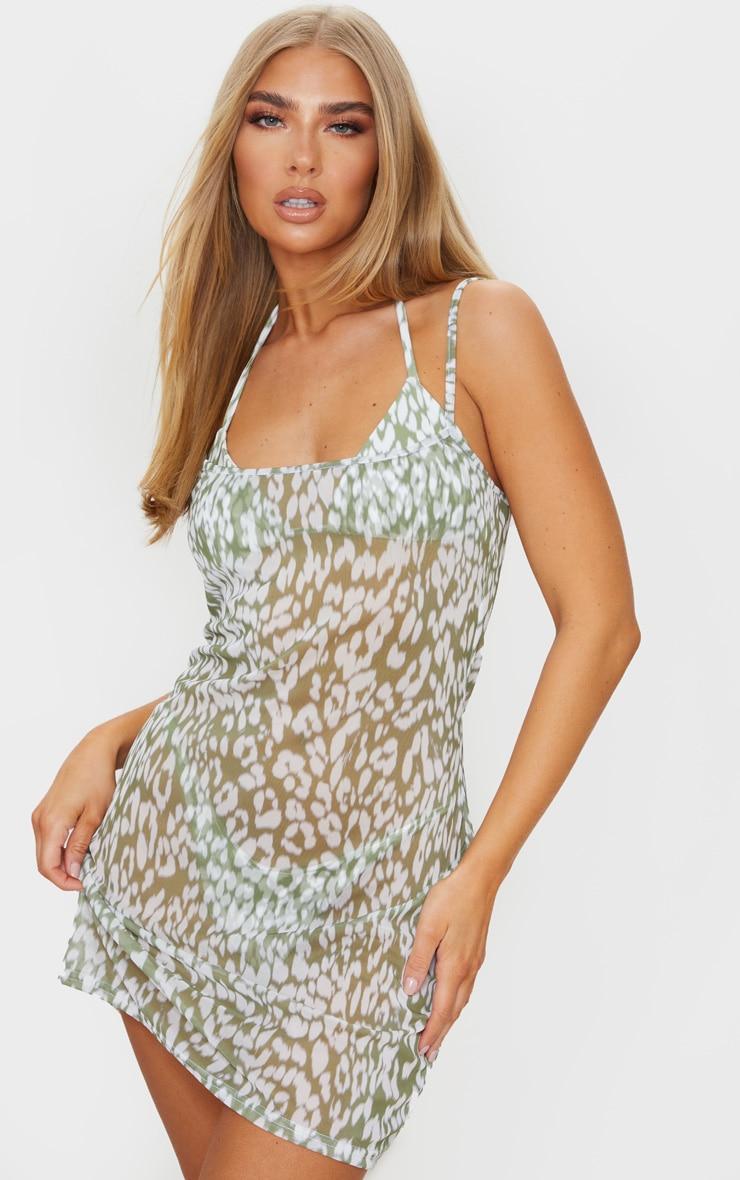 Green Blurred Cheetah Mesh Beach Dress 3