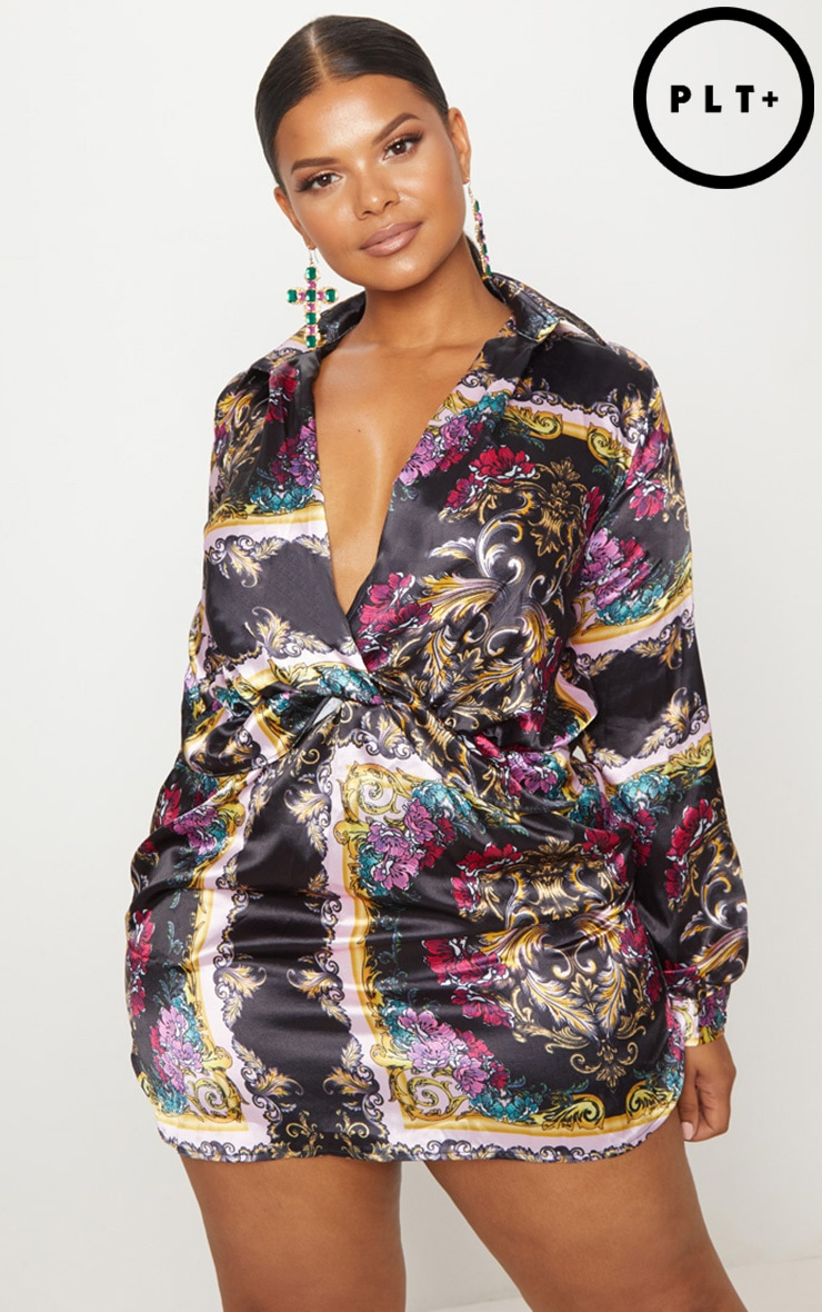Plus Pink Scarf Print Twist Front Satin Shirt Dress 1