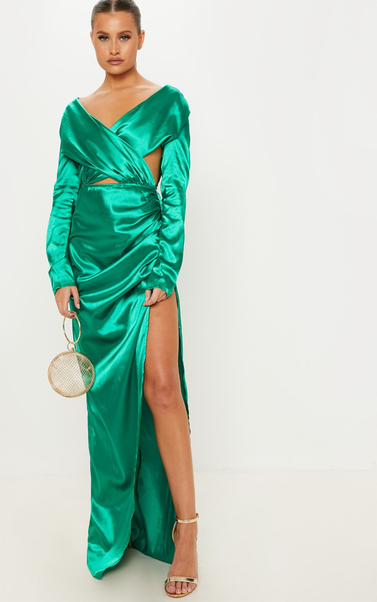 Emerald Green Satin Plunge Cut Out Ruched Maxi Dress