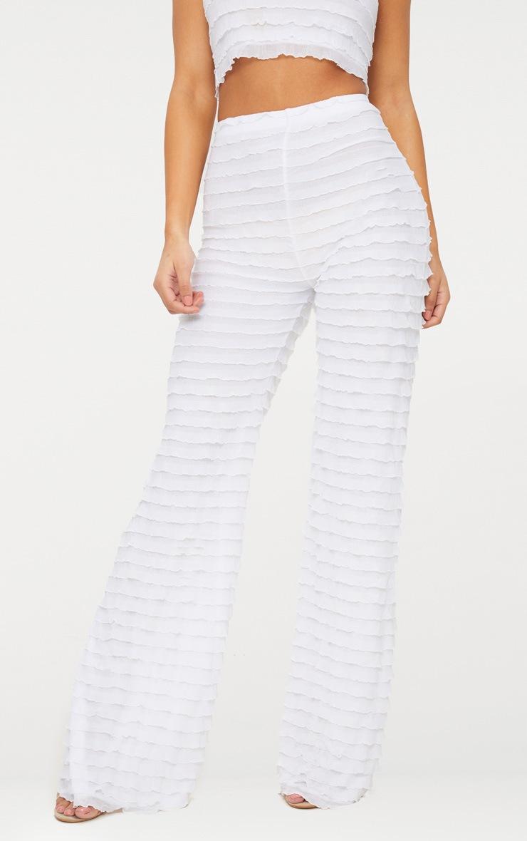 White Frill Wide Leg Pants 2