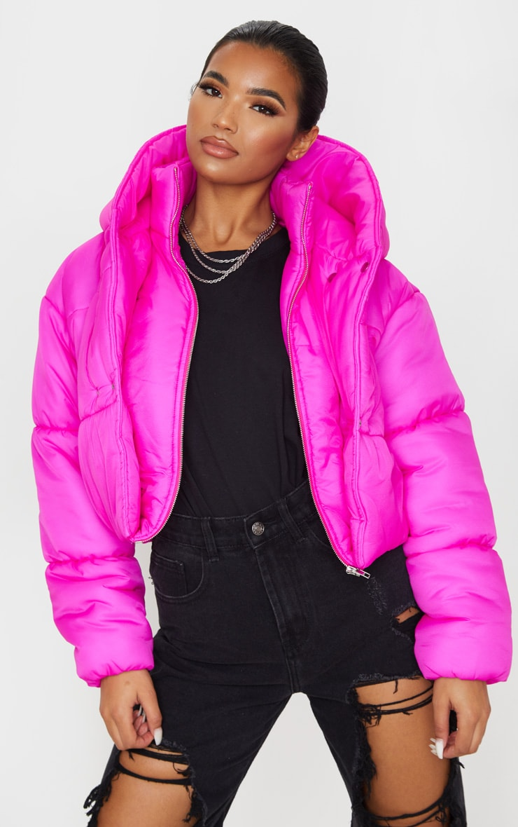 Hot Pink Double Layer Cropped Hooded Puffer 4