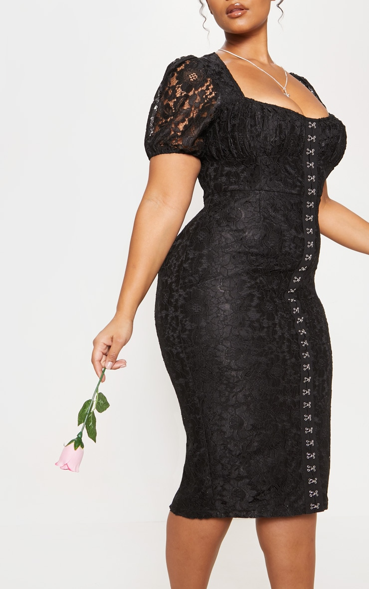 Black Lace Puff Sleeve Midi Dress 6
