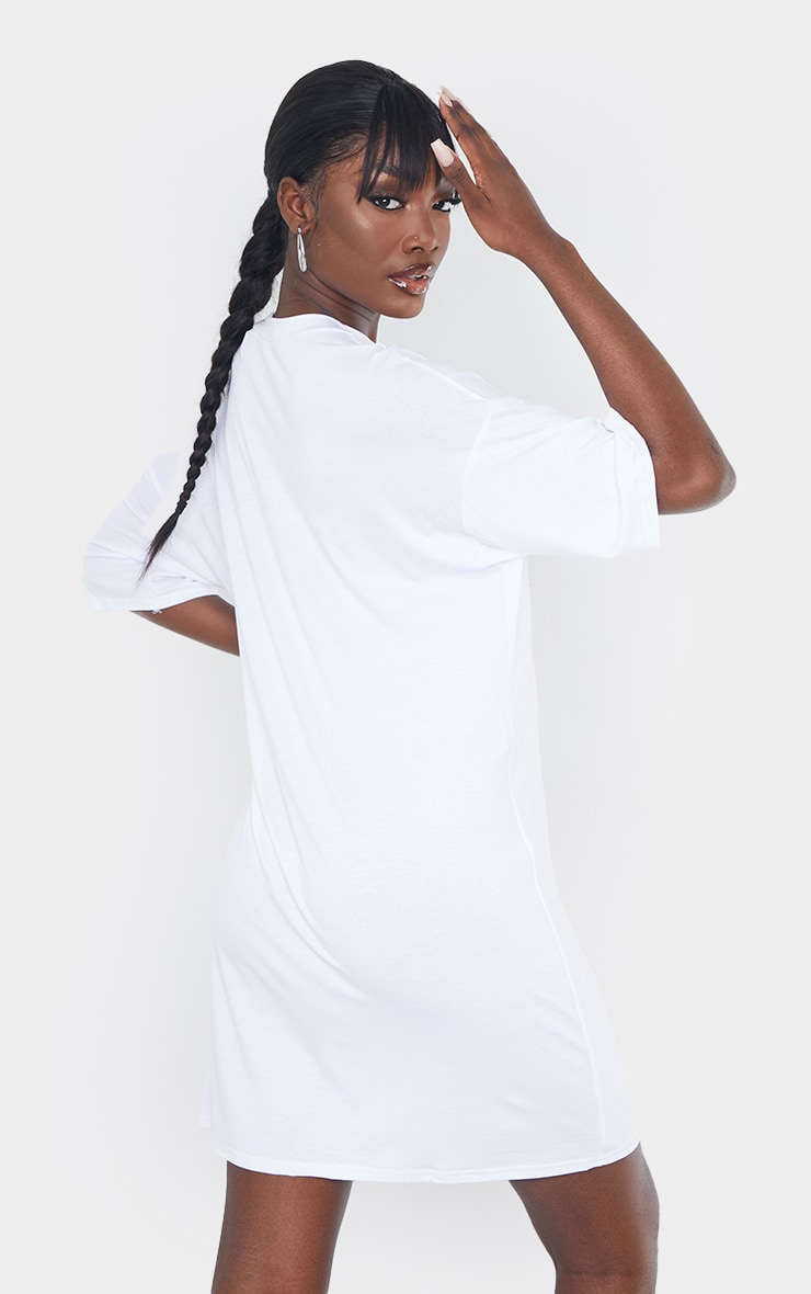Tall White Oversized T-Shirt Dress 3