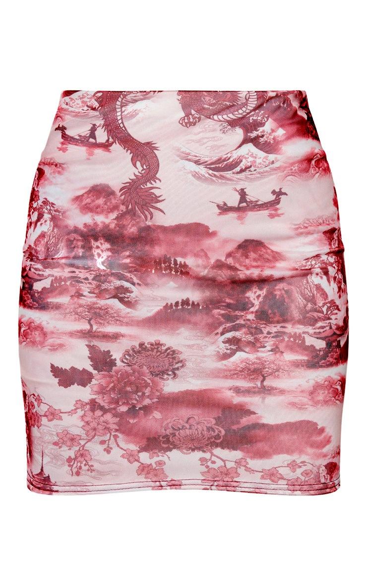 Tall Pink Oriental Print Mesh Mini Skirt 3
