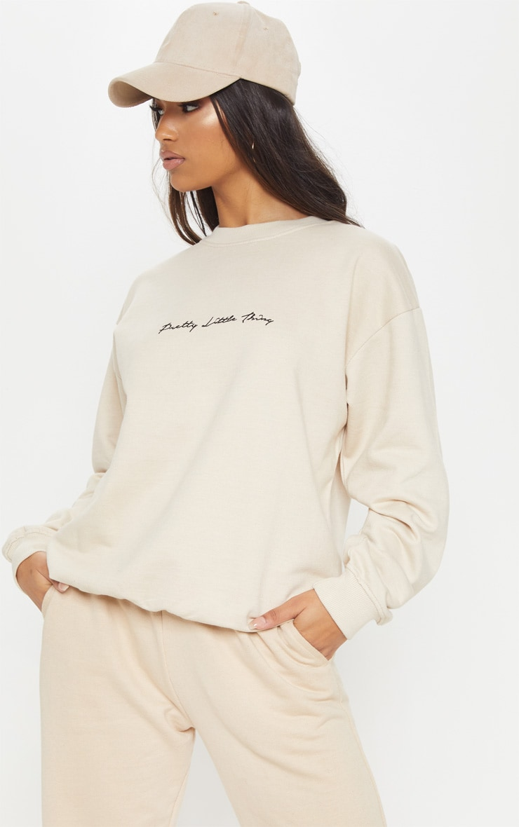 PRETTYLITTLETHING Cream Embroidered Oversized Sweater 2