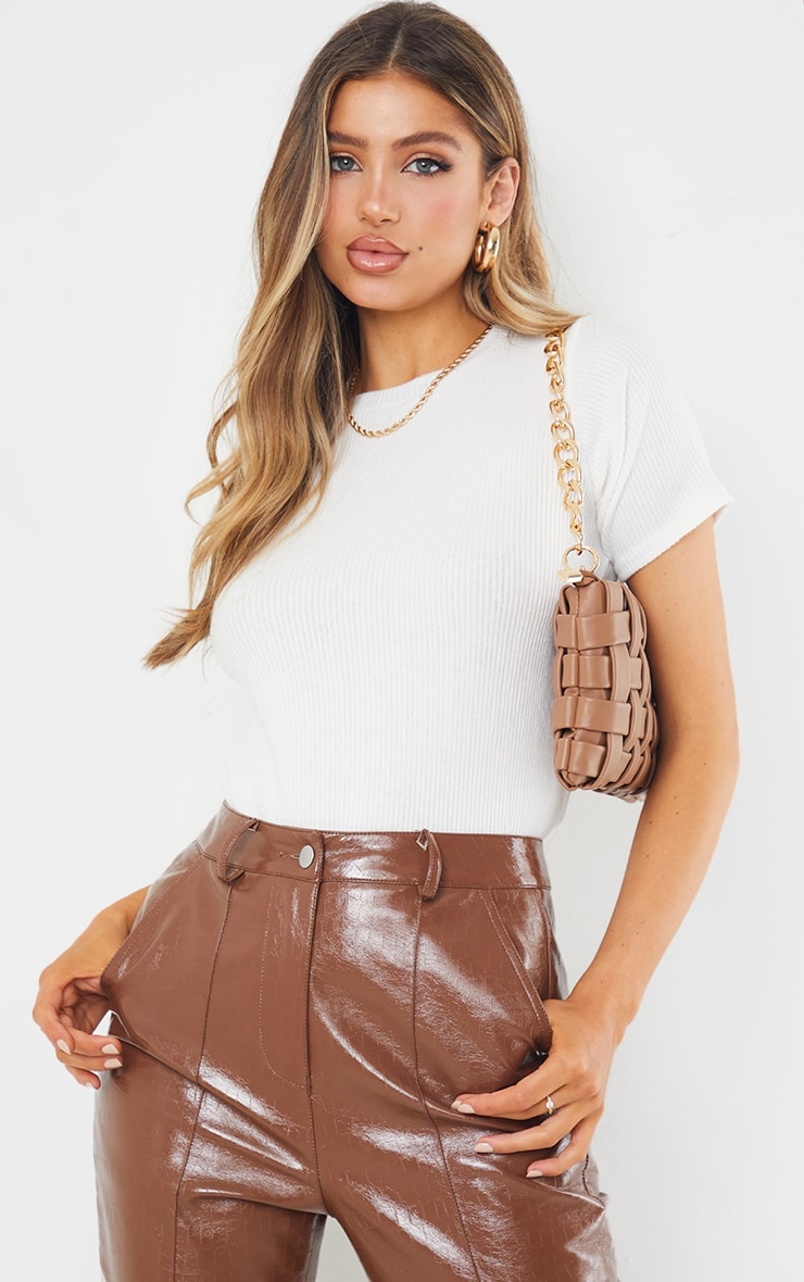 Cream Brushed Rib Short Sleeve Top 1