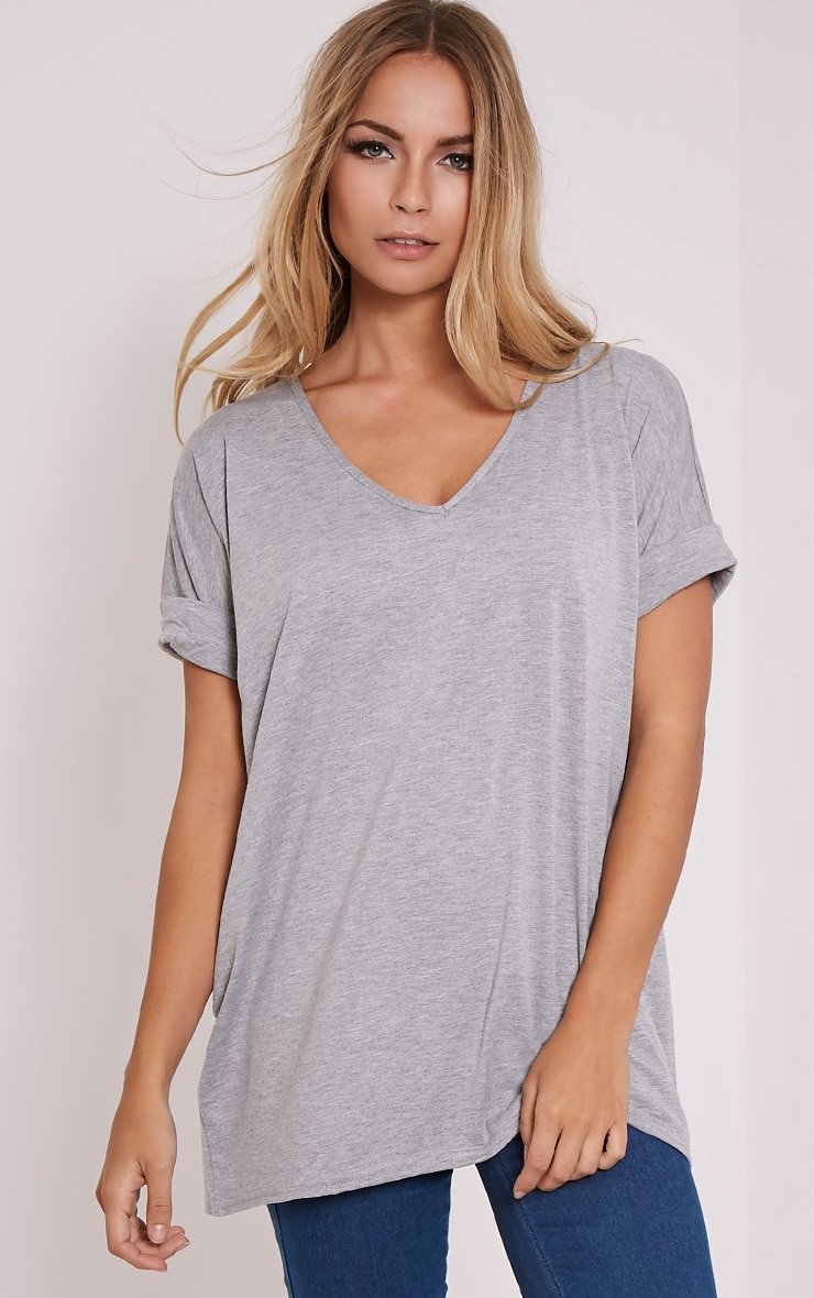 Basic Grey V Neck Oversized T-Shirt 1
