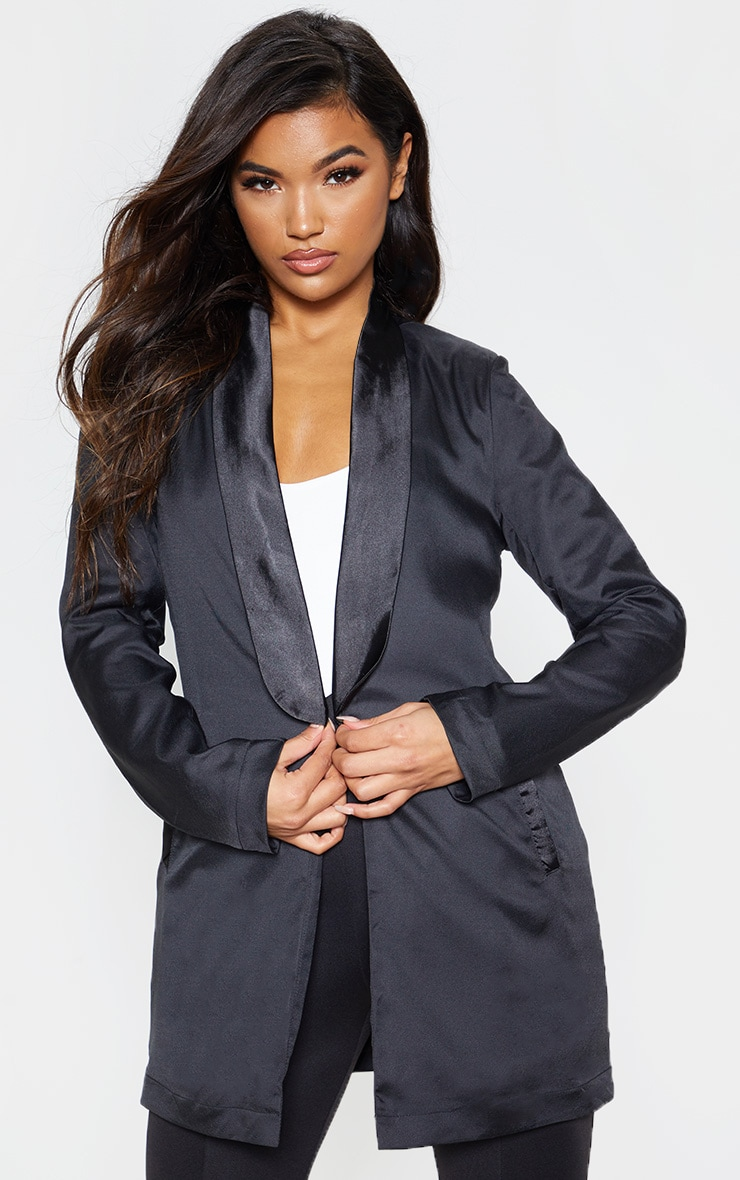 Black Satin Lapel Longline Blazer 5