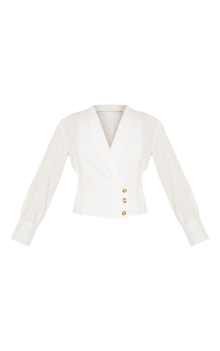 White Side Button Blouse 3