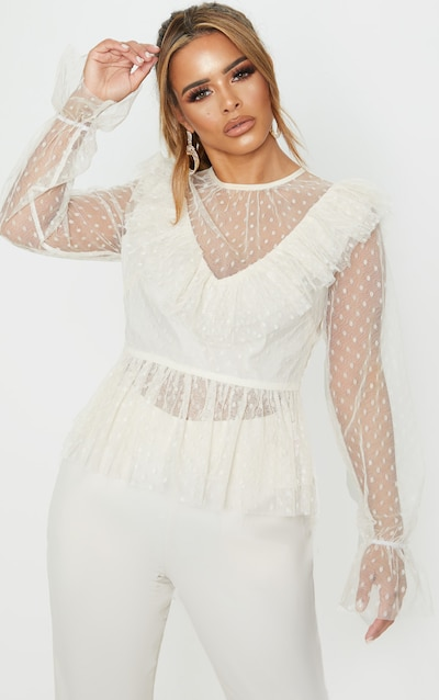 Petite Cream Dobby Mesh Frill Long Sleeve Blouse
