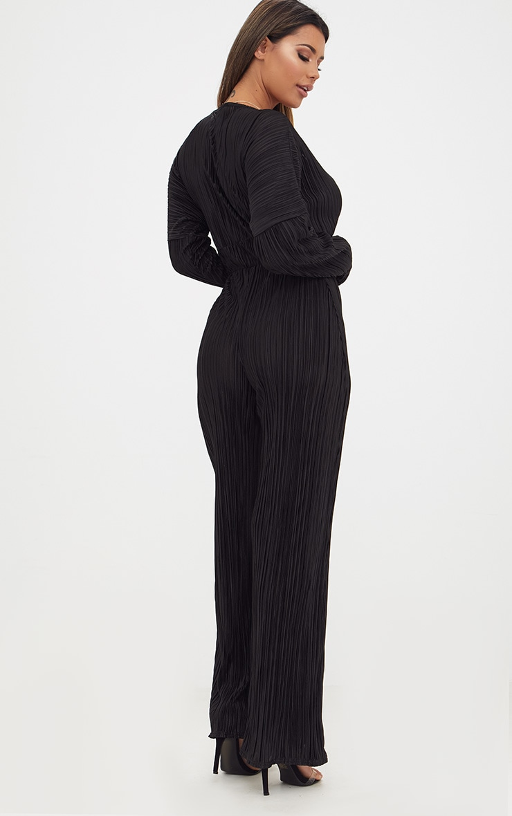 Black Long Sleeve Pleated Jumpsuit 2