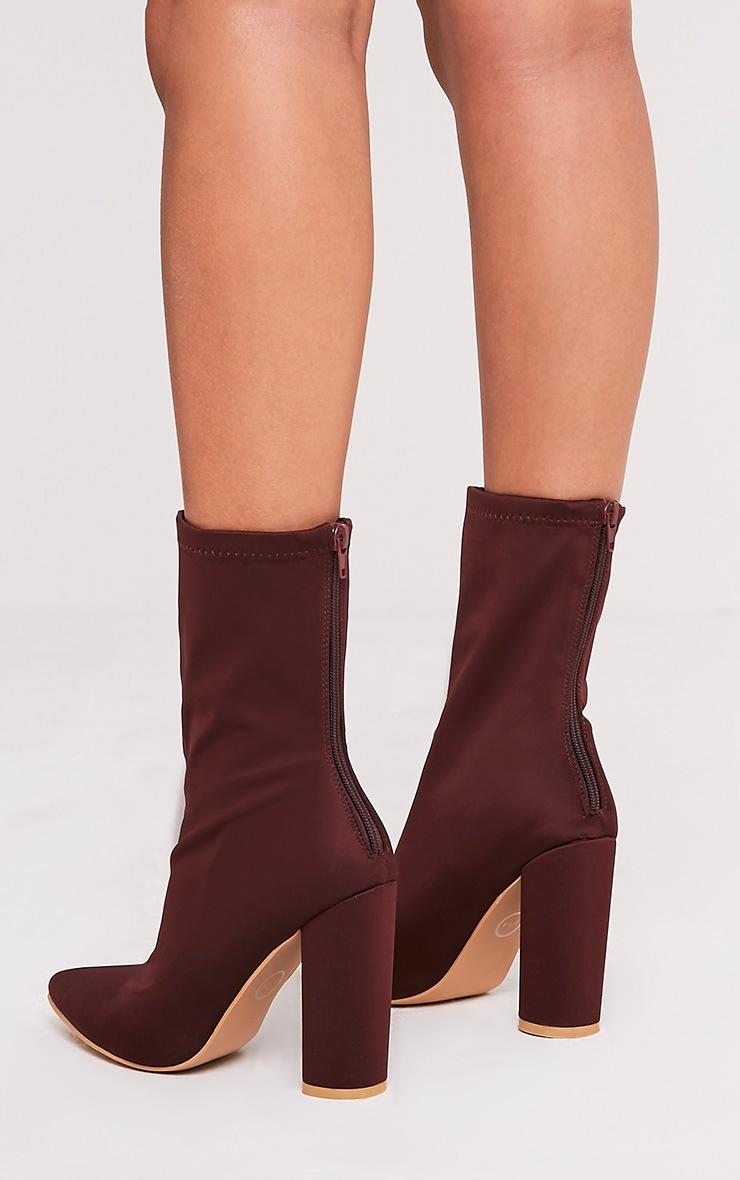 Addie Plum Neoprene Pointed Sock Boots 4