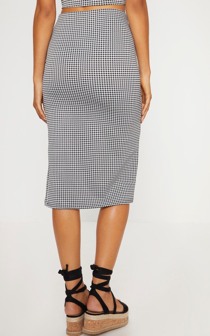 Black Gingham Split Detail Midi Skirt 4