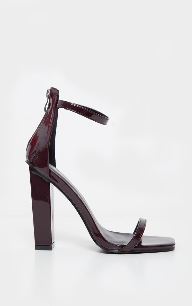 Burgundy Square Toe High Block Heel Sandal 3