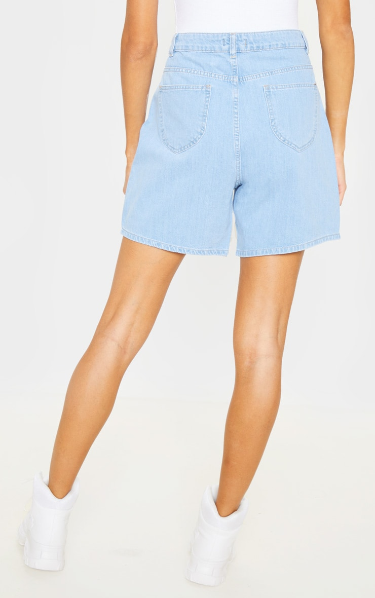 Tall Light Wash Denim Mom Shorts 4