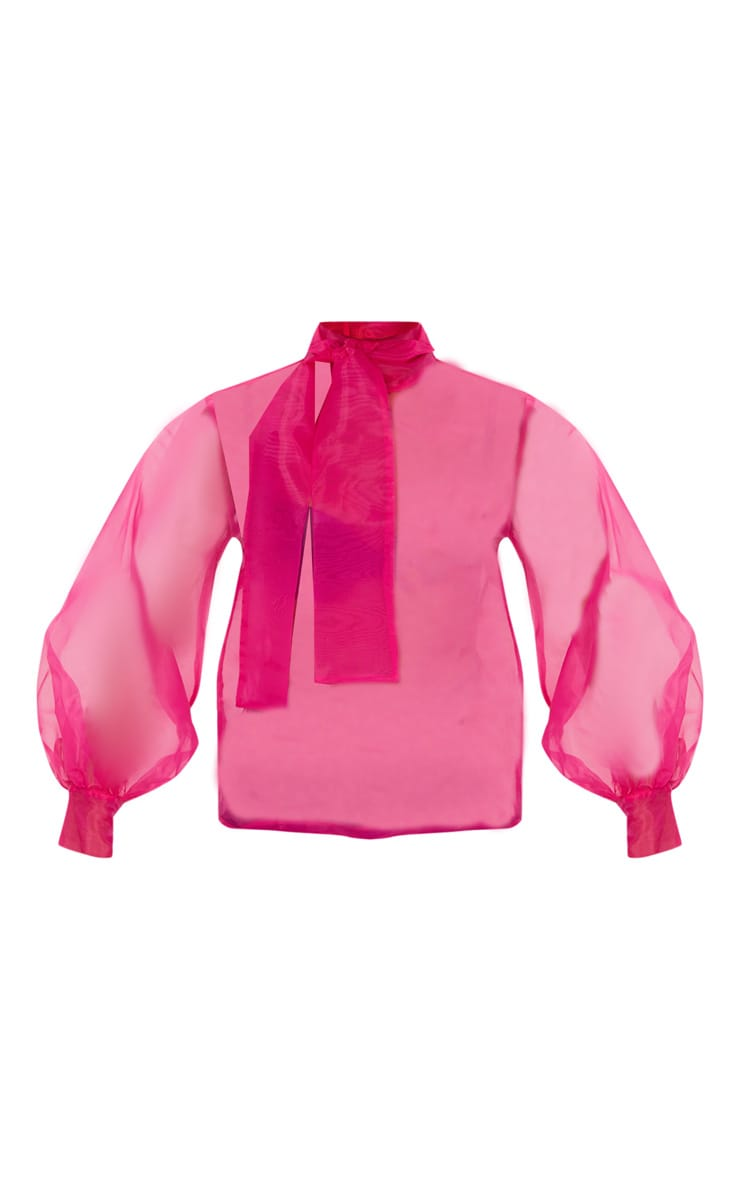 Hot Pink Sheer Organza Pussy Bow Puff Sleeve Blouse 3